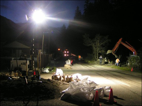 Dobbyn Creek crews work all night