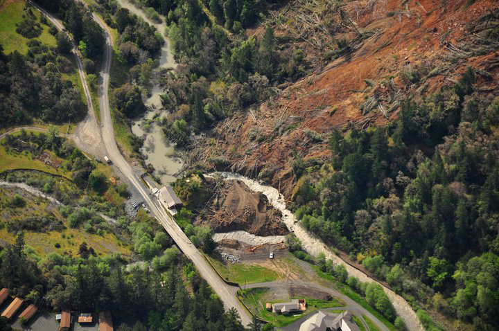 Dobbyn Creek slide aerial 19 April 2011