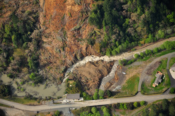 Dobbyn Creek slide aerial close up 19 April 2011
