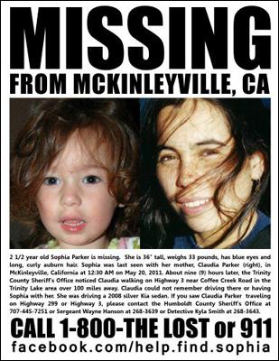 Sophia Parker Missing Child poster 20 May 2011