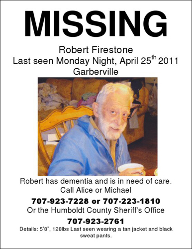 Robert Firestone Missing person poster