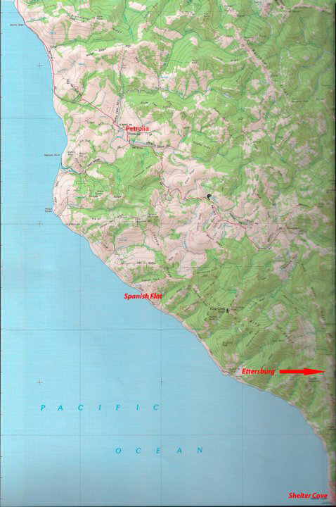 Map - Spanish Fire and surrounding area western Humboldt County